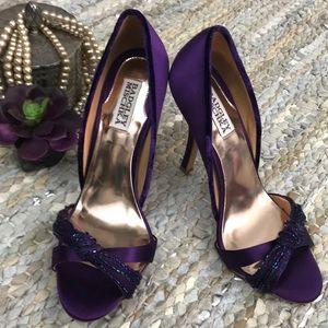Badgley Mischka Ryanne beaded heels purple satin